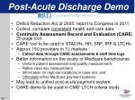 post acute discharge demo