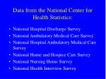 data from the national center for health statistics
