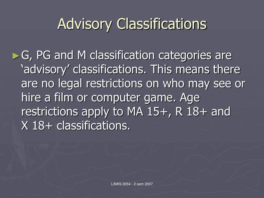 Advisory Classifications
