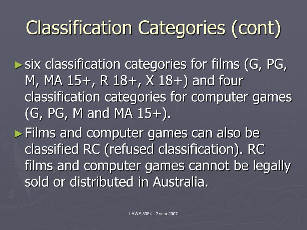 Classification Categories (cont)