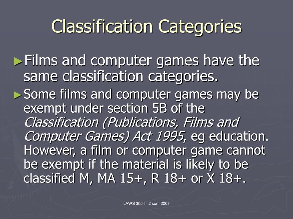 Classification Categories