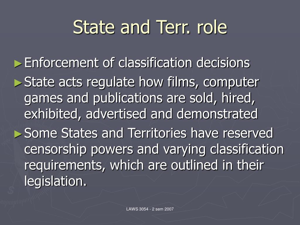 State and Terr. role