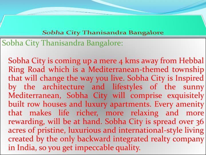 Sobha city thanisandra bangalore