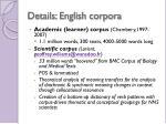 details english corpora