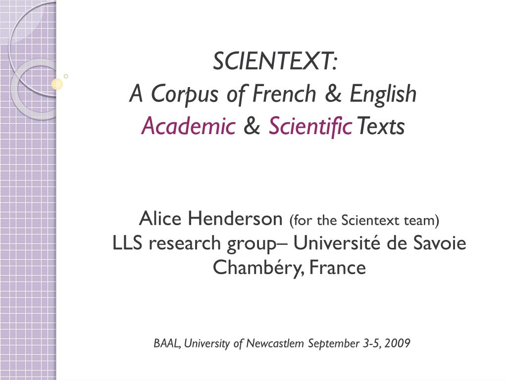 scientext a corpus of french english academic scientific texts l.