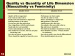 quality vs quantity of life dimension masculinity vs femininity