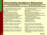 uncertainty avoidance dimension