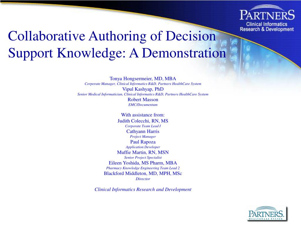 collaborative authoring of decision support knowledge a demonstration l.