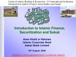introduction to islamic finance securitization and sukuk