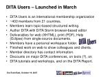 dita users launched in march