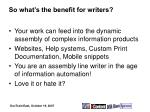 so what s the benefit for writers