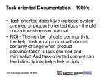 task oriented documentation 1980 s