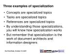 three examples of specialization