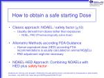 how to obtain a safe starting dose