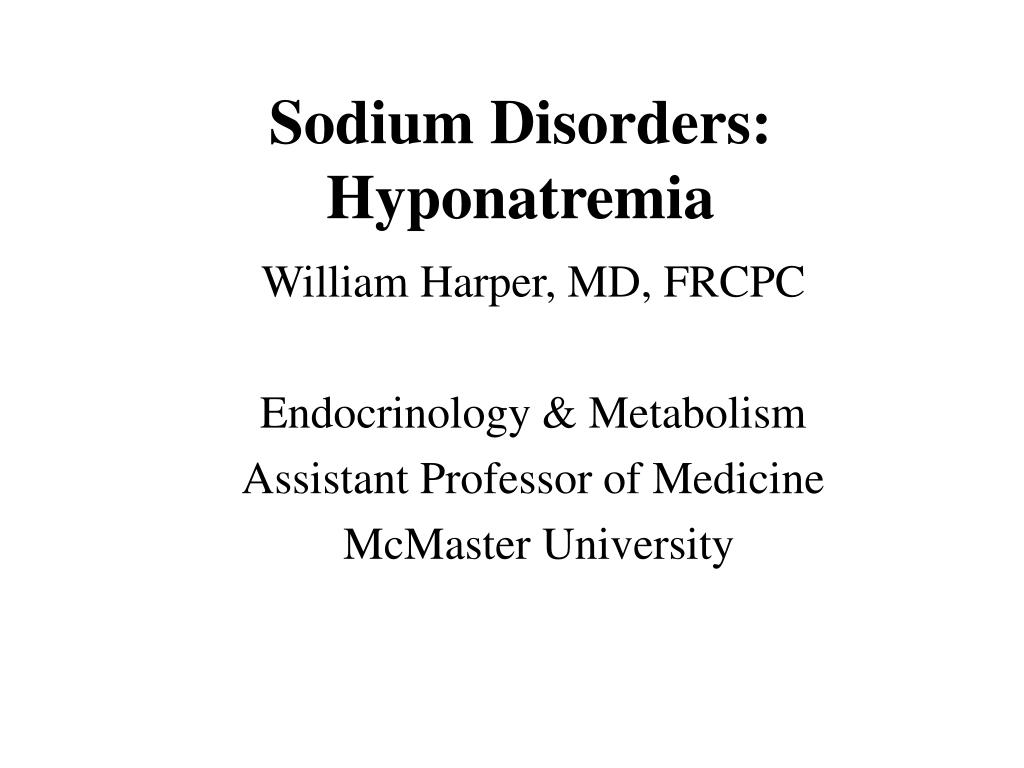 sodium disorders hyponatremia l.