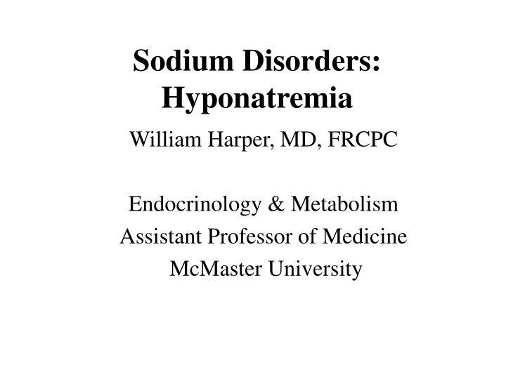 sodium disorders hyponatremia n.