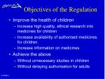 objectives of the regulation