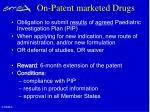 on patent marketed drugs
