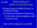 public funding for studies on off patent drugs