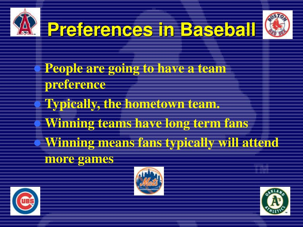 Preferences in Baseball