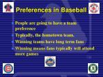 preferences in baseball