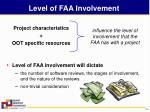 level of faa involvement