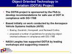 object oriented technology in aviation ootia project