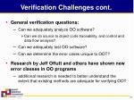 verification challenges cont