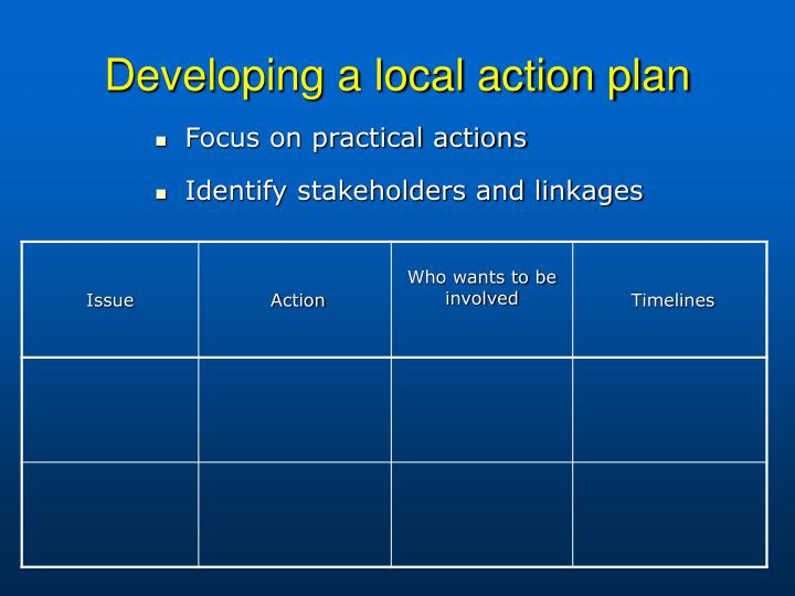 Developing a local action plan