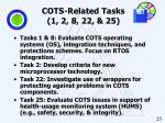 cots related tasks 1 2 8 22 25