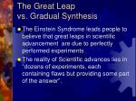 the great leap vs gradual synthesis