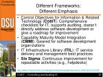 different frameworks different emphasis