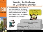 meeting the challenge it governance defined