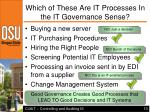 which of these are it processes in the it governance sense