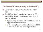 total cost tc versus marginal cost mc