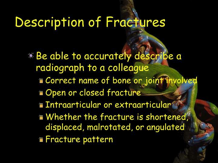 Description of Fractures