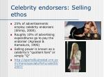 celebrity endorsers selling ethos