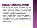 michael s personal notes