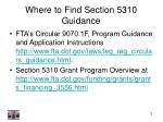 where to find section 5310 guidance