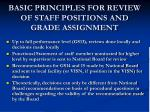 basic principles for review of staff positions and grade assignment