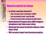 neural control of sleep