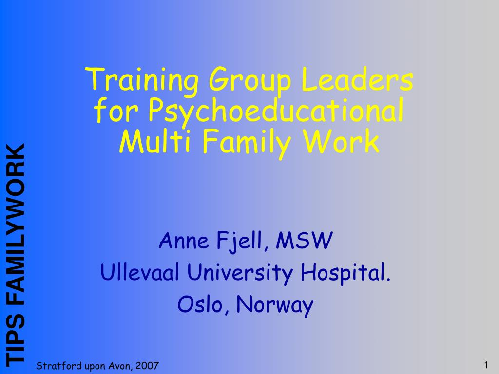 training group leaders for psychoeducational multi family work l.