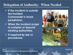 delegation of authority when needed