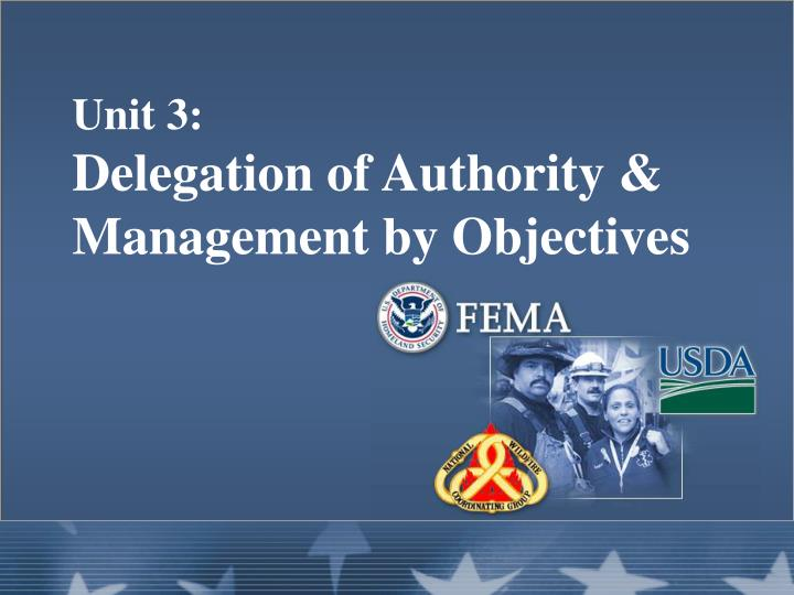 unit 3 delegation of authority management by objectives n.