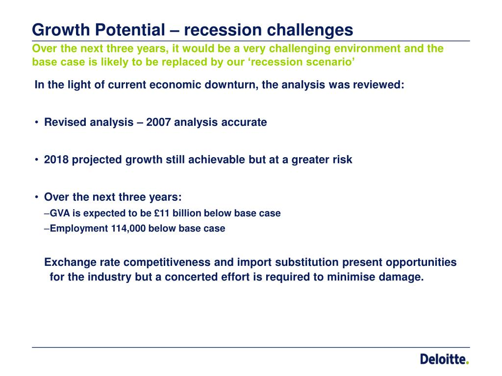 Growth Potential – recession challenges