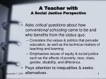 a teacher with a social justice perspective