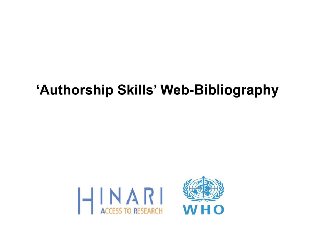 authorship skills web bibliography l.