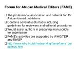 forum for african medical editors fame