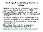 starting a new scholarly journal in africa