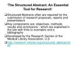 the structured abstract an essential tool for research